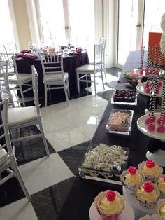 Black white and fuchsia theme candy bar Birthday Candy, Buffet, Black White, Bar, Buffets, Black And White