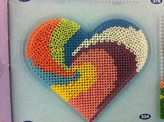 Hama rainbow heart design