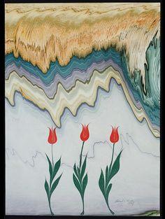 Marbling by Hikmet Barutcugil Turkish Art, Turkish Marble, Water Paper, Ebru Art, Earth Pigments, Paint Drop, Cloud Art, Marble Art, Islamic Art