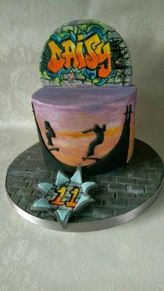Skateboarding themed birthday cake #Skateboarding #silhouette #watercolour…