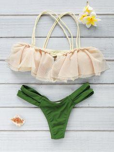 Spliced Spaghetti Strap Hollow Out Bikini Set GREEN: Bikinis | ZAFUL