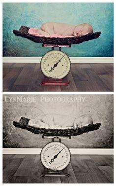 Newborn Baby Girl Photography. Newborn baby girl on a scale photo.  Photo prop for newborn baby.