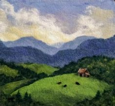 Felted Artwork-Original felted landscapes by Tracey McCracken Palmer. Wet felting and needle felting techniques are used to create beautiful works of art. Felt Embroidery, Felt Applique, Landscape Quilts, Landscape Paintings, Wet Felting, Needle Felting, Felt Pictures, Wool Art, Felt Hearts