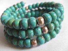 Turquoise Bracelet, Gemstone and Silver Bead Memory Wire Wrap Bangles - pinned by pin4etsy.com
