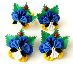 Viola tricolor flower hair clip. Kanzashi  Fabric Flowers.Set of 2 hair clips or ponytail holders. Shades of blue. Blue pansy hair piece.