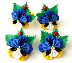 Viola tricolor flower hair clip. Kanzashi Fabric van JuLVa op Etsy