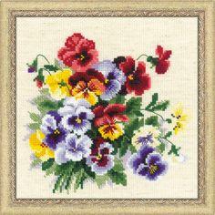 Набор для вышивания крестом 1516 Пестрые анютки от РИОЛИС  Cross stitch kit 1516 Mottled Pansies by RIOLIS
