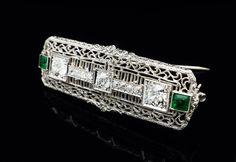 Vintage Brooch Diamond Emerald Platinum 14k White Gold Fine Estate Jewelry | eBay