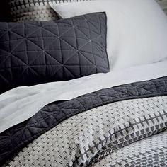 Organic Block Stripe Jacquard Duvet Cover + Shams - Black/White | west elm