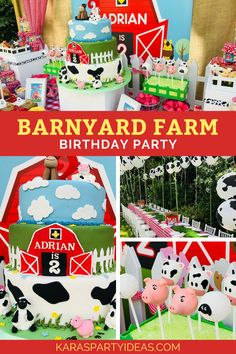 Kara's Party Ideas Barnyard Farm Birthday Party   Kara's Party Ideas Farm Animal Party, Farm Animal Birthday, Barnyard Party, Farm Birthday, Farm Party, Boy Birthday Parties, Twin Birthday, Party Fun, Birthday Ideas