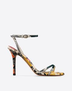 Printed leather,Ethnic design,Leather sole,Buckling ankle strap closure,Round toeline,Spike heel,