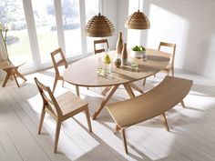 Based very much on a Scandinavian style design theme, the Malmo is an extremely clean, current and contemporary looking range.  Comprising white Oak veneers along with solid wood, the Malmo is distinguished by its hallmark starburst pattern on the table tops and offers a real high end appeal, yet at a reasonable cost. Dining Set Table Dimensions: L1900mm x W1100mm x H750mm Chair Dimensions: W430mm x D560mm x H815mm