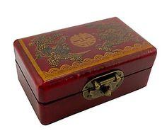 Caja de bolas de Feng Shui en madera y cuero - rojo