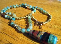 Long Glass Bead and Agate Necklace on Irish Waxed by jodybrimhall, $65.00