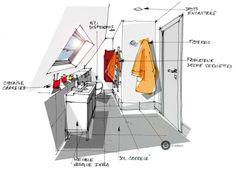 croquis architecture intérieure - salle de bain. - Dominique JEAN