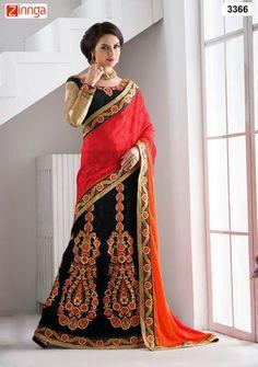 KESARIYA FASHION-Red and Black Color Jacquard Saree - 1173 - 3366