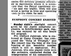 Clifford Julstrum performed at Camp Crowder, from Macomb IL 11 Aug 1942
