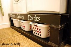 Storage Labels for Laundry Room- Vinyl Lettering Decal Organization - DIY Furniture Plans Laundry Room Organization, Organization Hacks, Laundry Storage, Organizing Ideas, Laundry Organizer, Laundry Stand, Clothes Storage, Laundry Labels, Organising