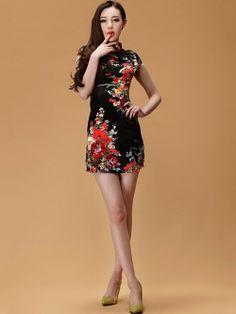 Black Short Floral Silk Cheongsam / Qipao Dress
