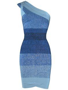 Blue Ombre One Shoulder Sexy Party Bandage Dress . Shop Now At http://misscircle.com/Dresses/Bandage-Dress/One-Shoulder/Blue-Ombre-One-Shoulder-Sexy-Party-Bandage-Dress.html