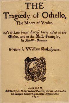 Folha de rosto da edição de 1630 da peça de teatro 'Otelo' (Crédito: Reprodução)