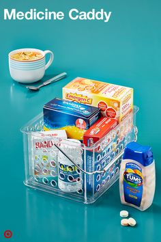 Store all your health-related stuff in a college Medicine Caddy. Fill it with cold medicines, a first-aid kit, Band-Aids, Advil, Emergen-C and any other personal stuff. It's such a relief to find things when they're organized, especially when you're not feeling well.