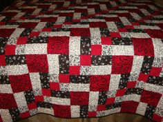 Patchwork Quilt Red White And Black Newly Handmade Quilts
