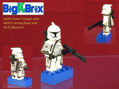 LEGO Star Wars CLONE TROOPER with WHITE Armor Gear, Holster, & 2 DC15 Blasters! in Toys & Hobbies   eBay
