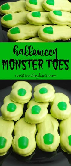 Monster Toes - these simple treats are perfect for any Halloween party. Slightly creepy, very tasty! A fun Halloween recipe! via creationsbykara.com
