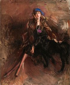 Giovanni Boldini (Italian 1842–1931) [Portraiture] Lady with Black Greyhound.