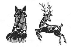 Deer and Fox typography set by julymilks on @creativemarket