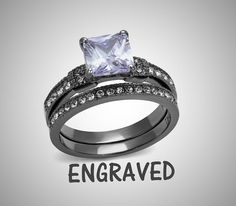 *Made to Order *Custom engraved  Stunning High Polished light black 316L Surgical Stainless Steel bridal set. Will not rust, tarnish, fade or discolor. Includes Lilac Princess Cut engagement ring and matching band.  Grade AAA Lilac CZ stone measures 7mm.  Both rings are custom engraved to your request. Up to 20 characters inside EACH ring, including spaces  Available in sizes US 5-10. ----  How to order: 1. Choose your set size from the drop down menu. 2. Add listing to your cart. 3. During…
