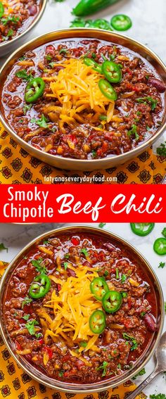 Chipotle Recipes, Chipotle Chili, Chili Recipes, Soup Recipes, Best Beef Stew Recipe, Beef Chili Recipe, Chili Recipe Video, Tatyana's Everyday Food, Soups