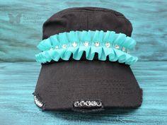 Turquoise Bling Hat, Black Cadet Hat, Bling Cadet Hat, Swarovski Crystal Hat, Cowgirl Bling Hat, Rhinestone Hat, Women's Hat, tammydee