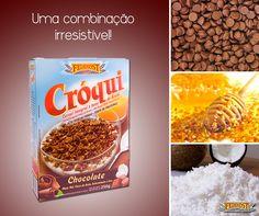 Nosso Cróqui Chocolate é um cereal elaborado com ingredientes diferenciados. O melhor coco ralado, deliciosas gotas de chocolate e mel da melhor qualidade. Hummm! #Feinkost #CroquiChocolate #cereal