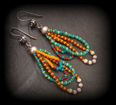 Glass Seed Bead Looped Gypsy Dangle Beaded Earrings