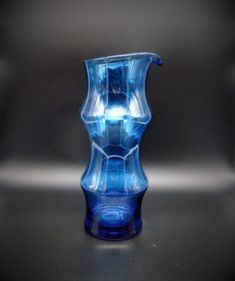 Mid Century Scandinavian Blue Glass Pitcher Decanter Vessel Modern Vintage Crystal Glassware, Glass Pitchers, Glass Ceramic, Decanter, Martini, Decorative Items, Mid-century Modern, Scandinavian, Glass Art