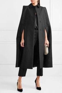 BOTTEGA VENETA fabulous Studded black cotton, wool and silk-blend twill cape