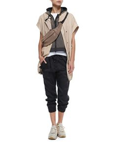 Tulle-Over-Taffeta Vest with Hood, Leather Anorak Vest with Hood, Short-Sleeve Stretch Cotton T-Shirt & Moto Knee Pull-On Pants by Brunello Cucinelli at Neiman Marcus.