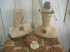 Give Thanks Primitive Pilgrim Man and Woman by YorkiesPrimitives, $25.95