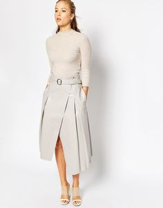 Image 1 ofASOS Midi Skirt In Leather Look With Wrap Detail