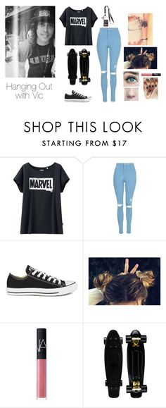 """""""Hanging Out with Vic"""" by brenda-all-over ❤ liked on Polyvore featuring Uniqlo, Topshop, Converse, NARS Cosmetics, DemiLovato, dyedhair, cover, performing and catchme"""