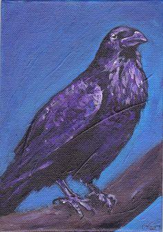 Raven Perch Original Acrylic Painting on Canvas Board OOAK animal Bird Art £12.00