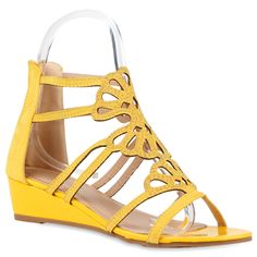 Damen Sandaletten Keil Sandaletten - Gelb
