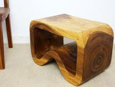 "#Bench #Endtable ""B"" style carved monkey pod wood furniture. Oak or Walnut Oil Finish"