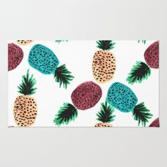 Weird Pineapples Area & Throw Rug by Bouffants and Broken Hearts - $28.00