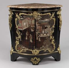This corner cabinet is veneered with panels cut from a late seventeenth-century Chinese lacquer screen. This colorful lacquer with its incised decorations is usually called Coromandel lacquer after the name of the English East India Company's trading post on the Coromandel Coast of India. Van Risenburgh frequently used such pieces of lacquer, supplied to him by various marchands-merciers, and he cleverly hid the edge of the panels behind scrolling gilt-bronze mounts.