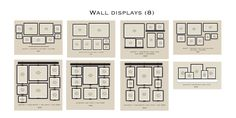 Here are some nice diagrams for showing how to arrange photos on a wall. I especially like the lower three. I'd like to try connecting frames together like these.