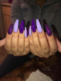 There are three kinds of fake nails which all come from the family of plastics. Acrylic nails are a liquid and powder mix. They are mixed in front of you and then they are brushed onto your nails and shaped. These nails are air dried. Purple Acrylic Nails, Best Acrylic Nails, Purple Glitter Nails, Purple Stiletto Nails, Dark Purple Nails, Violet Nails, Acrylic Art, Gorgeous Nails, Pretty Nails