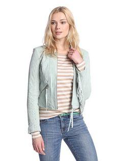70% OFF Sam Edelman Women's Luella Fringe Suede Jacket (Mint)